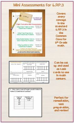 Solving ratio problems with tape diagrams interactive notebook 6th grade math 40 problems in eight formative mini assessments that cover solving rate ccuart Choice Image