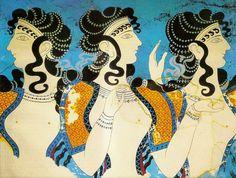"""Fresco """"Damas Azules""""   Palacio Cnossos.  GRECIA  LA CIVILIZACIÓN MINOICA"""