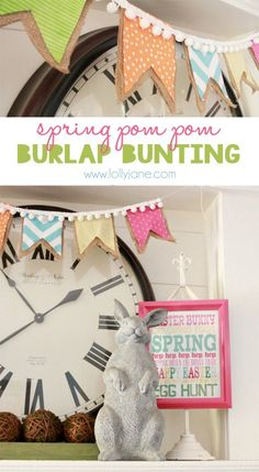 Super Cute Spring Pom Pom Burlap Flags Tutorial … Perfect for Easter! Burlap Bunting, Bunting Garland, Buntings, Burlap Banners, Spring Crafts, Holiday Crafts, Holiday Fun, Holiday Parties, Decor Crafts