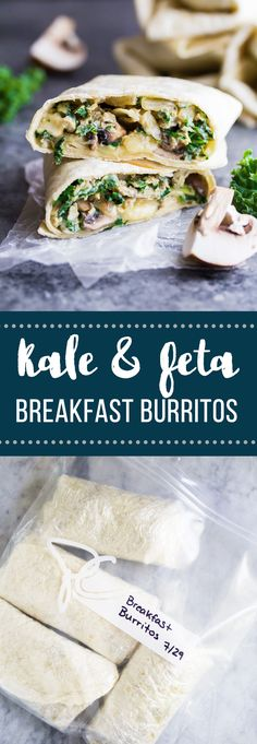 These meal prep kale, feta and mushroom breakfast burritos are freezer friendly, and will keep you feeling full! Make them on the weekend and stock up your freezer.