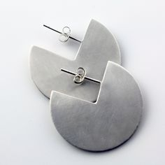Fairmined Silver Modern Disk Earrings on Post by VK Designs in Portland, OR VK1419