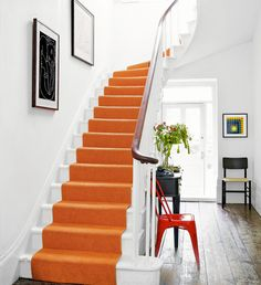 Statement orange staircase runner