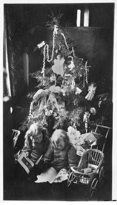Children around a Christmas tree in Russell County, between 1870s and 1890s From kansasmemory.org