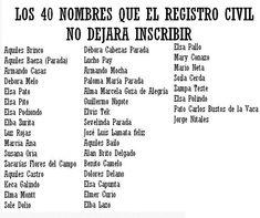 Los 40 nombres prohibidos por el registro civil boliviano