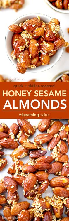 Honey Sesame Almonds: sweet and smoky skillet-roasted almonds glazed with a coat of honey and satisfying sesame seeds. BEAMINGBAKER.COM