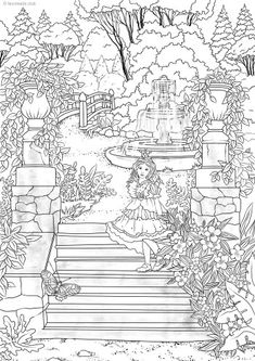We are excited about this new adult coloring page. Take a walk in a magic garden with this little princess. And don't forget to color this new printable Whale Coloring Pages, Garden Coloring Pages, Elephant Coloring Page, House Colouring Pages, Spring Coloring Pages, Tree Coloring Page, Printable Adult Coloring Pages, Cute Coloring Pages, Disney Coloring Pages