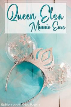 These are gorgeous and I love her tips! | Today we made these amazing (and sparkly) Elsa Minnie ears for our trip to Disney. My daughter has loved this movie and the characters for years and she is so excited to see the princesses again. Click to get the easy, no sew tutorial and mouse ear template for these fun Disney ears. #rufflesandrainboots #minnieears #mickeyears #disney #frozen #elsa #diymickeyears