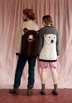 BROWN BEAR JUMPER (him) & POLAR BEAR CARDIGAN (her) | Lu Flux