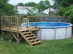Above Ground Pool Designs Above Ground Swimming Pool Landscaping Ideas With Wood. Above Ground Pool Designs Above Ground Swimming Pool Landscaping Ideas With Wooden Deck ideas above ground wooden decks Swimming Pool Decks, Swimming Pool Landscaping, Above Ground Swimming Pools, Swimming Pool Designs, In Ground Pools, Landscaping Ideas, Backyard Landscaping, Backyard Designs, Backyard Pergola
