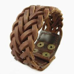 $5.51 - Men Women's Wide Brown Cowhide Leather Braided Mesh Surfer Bracelet Wristband #ebay #Fashion