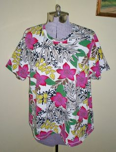 "Women's Plus Sz 2X Relativity Tee Top Shirt 50"" Bust Cotton Spandex EUC Colorful #Relativity #Tee #Casual"