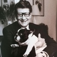 Yves Saint Laurent and his French Bulldog by Max Vadukul. Vogue 1994.