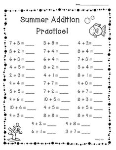 Summer / End of Year Basic Addition Facts Practice Set of 3 Worksheets Number Worksheets Kindergarten, 2nd Grade Worksheets, Numbers Preschool, School Worksheets, Preschool Math, Early Learning Activities, Daily Math, First Grade Math, Math Facts
