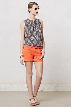 Perfect for summer/fall Smocked Henley Blouse #anthropologie