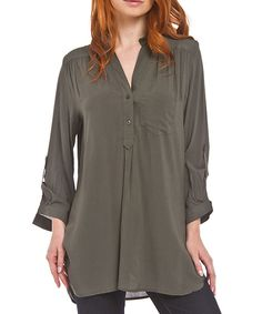 Look at this Green Notch Neck Top - Women on #zulily today!