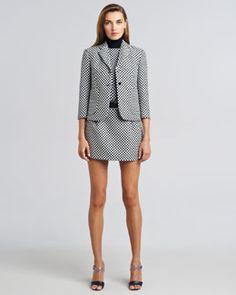 -452S Michael Kors  Jacquard Cardigan Schoolboy Jacket, Merino Optic Check Shell & Optic Check Miniskirt