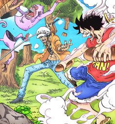 Luffy tryng to make Law eat his bread.