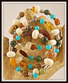 Memory Wire Bracelet with Fancy Jasper Polished by BlingbyDonna, $32.00