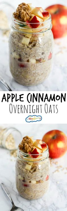 Apple Cinnamon Overnight Oats - MOMables - Mealtime Solutions for Busy Parents! - - Simple, healthy, and delicious, these Apple Cinnamon Overnight Oats are your new favorite breakfast! They're gluten-free & great for busy mornings. Overnight Oatmeal, Overnight Breakfast, Good Food, Yummy Food, Oatmeal Recipes, Apple Cinnamon, Apple 6, Ground Cinnamon, Breakfast Recipes