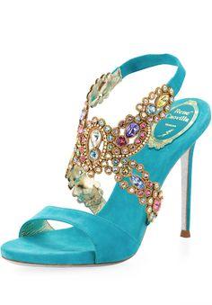Rene Caovilla Jeweled Halter Platform Sandal, Turquoise