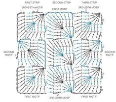 Crochet Squares, Crochet Blocks, Granny Square Crochet Pattern, Crochet Diagram, Crochet Granny, Diy Crochet, Crochet Doilies, Crochet Stitches Chart, Crochet Motif Patterns