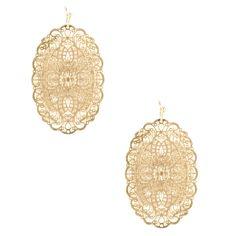Women's Gold Metal Oval Cutout Earrings by Sole Society