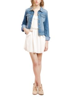 white dress and jean jacket