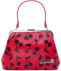 SOURPUSS CHERRY PRINTED VINYL BETSY PURSE - Sourpuss Clothing