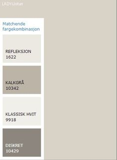 Bilderesultat for kalkgrå jotun Best Paint Colors, Wall Paint Colors, Color Inspiration, Interior Inspiration, Jotun Lady, House Color Palettes, Summer House Garden, Colorful Interior Design, Guest Room Office