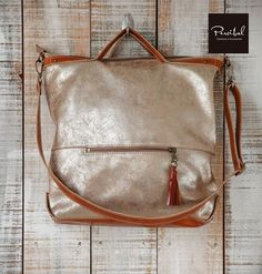 Leather tote bag with zipper, Metallic tote, Gold bag, Shopper bag, Crossbody purse leather