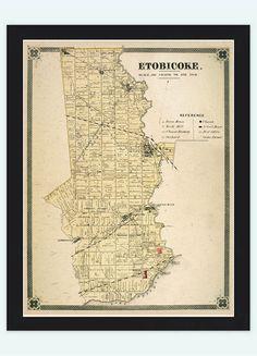 Old Map of Etobiocoke Toronto Canada 1897