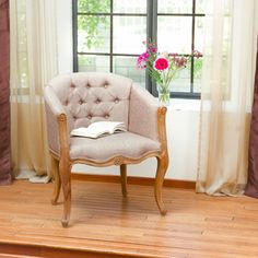 French Inspired Design Light Brown Fabric Tufted Accent Chair  #GreatDealFurniture #FrenchCountry