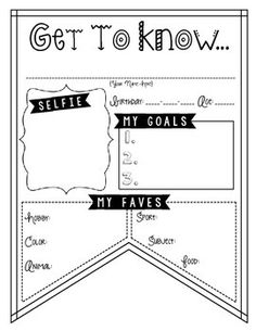 """Get to Know..."" Banner. Back to School Printables for grades 3 and up!"