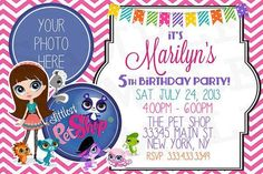 Littlest Pet Shop Birthday Invitation - Personalized with your info & photo - You Print 8th Birthday, Birthday Parties, Birthday Stuff, Birthday Ideas, Lps, Little Pet Shop, Party Themes, Party Ideas, Party Printables