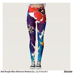 RED PURPLE BLUE Pattern Leggings. Colorful , Pretty, cute and Unique Original abstract floral painting by Jan Law, Artist. A fun gift for women, teenagers, girly and kids for play, exercise or just to be YOU!  A great clothing accessory! #fashion leggings, #yoga leggings, #awesome leggings, #printed leggings