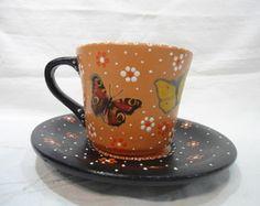 Xícara Chá com Pires - Laranja e Preto