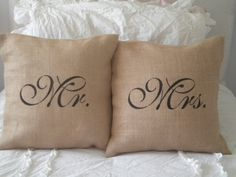 Set  of Mr. and Mrs. Burlap Pillow Covers by BeiFioriEmbellish, $28.00