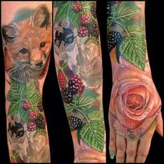 Bonus points to this sleeve for cute animals found in nature. | 27 Themed Tattoo Sleeves That Are Basically Works Of Art