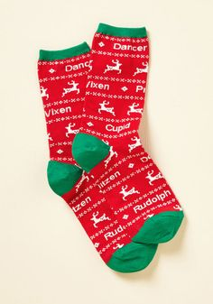 Sleigh Your Part Socks - Red, Green, Print with Animals, Print, Casual, Holiday, Critters, Fall, Winter, Good, Crew, Cotton, Knit