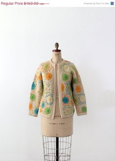 1960s flower cardigan sweater