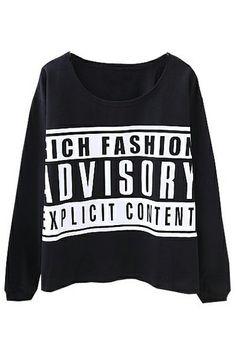 ROMWE | ADVISORY Print Black Sweatshirt, The Latest Street Fashion