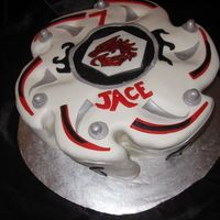 MUST do this for his bday!!!!  A Beyblade cake!! shut up!!
