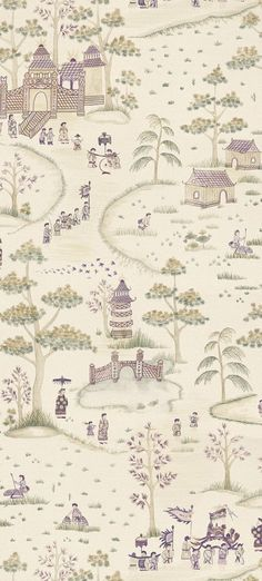 Cathay Parade Magenta (NCW4180-01) - Nina Campbell Wallpapers - This elegant, digitally printed wallpaper shows an ancient Chinese festival in a grand style. Produced on a wide width roll, various costumed figures parade up a tree-lined path to a stylised pagoda. Shown here in the magenta and eucalyptus colourway. Other colourways are available.  Please request a sample for a true colour match. Wide width product. Pattern repeat is 150cm. Paste-the-wall product.