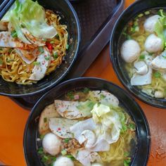 Fishball Story opened last year and has quickly become a favourite hawker stall at Golden Mile Food Centre. 24 year old chef/owner Douglas offers a soupless noodle, which I preferred, and a soup noodle which was tamer in flavour. Both come with homemade sambal chili and crispy bits of pork fat... delicious. The flourless handmade fishball made from 100% yellow tail fish have a bouncy texture, and the fish cakes and dumplings are all recipes from his grandmother. #FMFinSingapore #Singapore Noodle Soup, Dumplings, Allrecipes, Noodles, Singapore, Chili, Centre, Pork, Fat