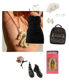 """""""Emily"""" by niinasmith604 ❤ liked on Polyvore featuring Chanel, Dr. Martens, John Lewis, Betsey Johnson, Native Gem and Abigail Ahern"""