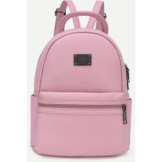 Pink Pebbled Faux Leather Backpack (37 BAM) ❤ liked on Polyvore featuring bags, backpacks, pink, fake leather backpack, pink rucksack, faux leather rucksack, vegan leather bags and day pack backpack