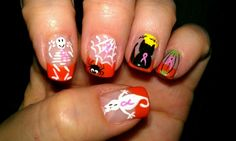 breast cancer and halloween nails | Boo..bie Nails Halloween Breast Cancer Awareness Nails...love 'em.