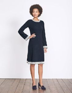 #Boden Claudie Knitted Dress Navy Women Boden, Navy #Take your look back to the swinging Sixties with our bold knitted dress. This fun design has stylish flared sleeves and a statement checked pattern on the neckline, hem and cuffs. The wool-mix fabric will keep you feeling cosy, while the easy-to-wear shape is super flattering.