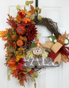 Fall Scarecrow Grapevine Wreath, Fall Grapevine Wreath, Scarecrow Grapevine Wreath, Thanksgiving Grapevine Wreath, Silk Flower Wreath by WruffleWreathsbyLana on Etsy