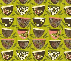 [Tote] decorated dim sum bowls fabric by cjldesigns on Spoonflower - custom fabric
